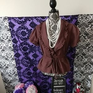 Brown belted top XL